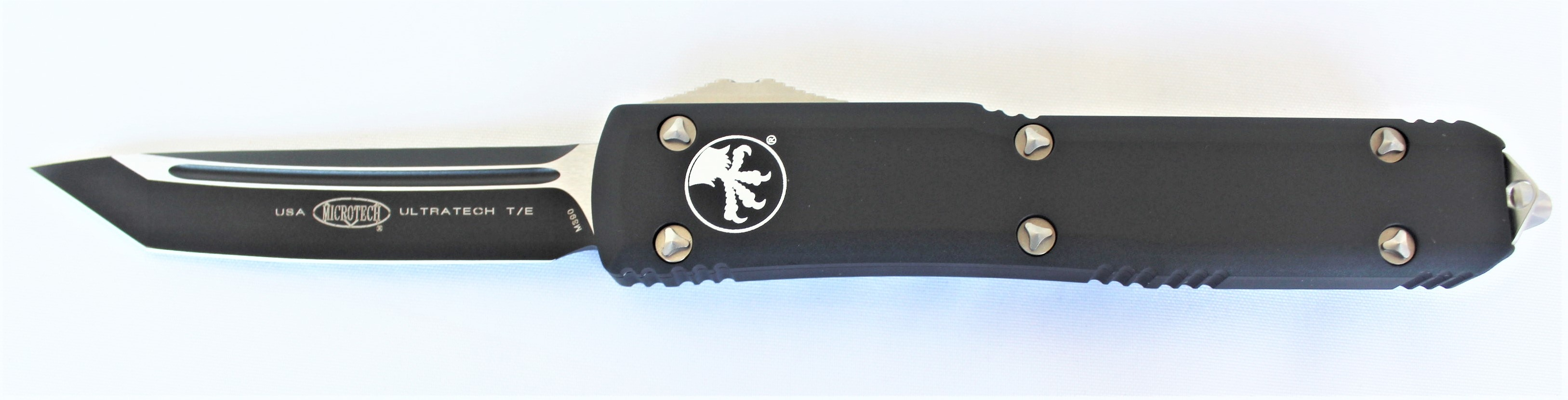 Microtech T/E Ultratech Black with Contoured Handles