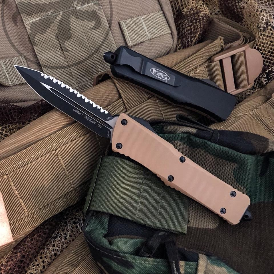 Microtech Combat Troodon D/E Tan G10 Scale Full Serrated