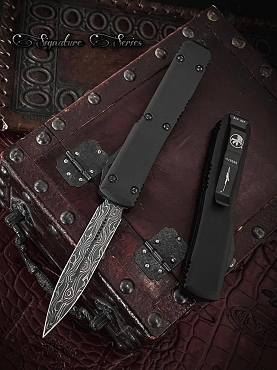 Microtech D/E Ultratech Damascus Standard w/ Ringed Hardware