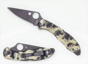 Spyderco Delica Plain DLC Black Blade with Glow in the Dark ZOME Handle