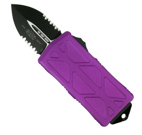 Microtech Exocet Black Partial Serrated Violet